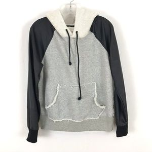 Free People We The Free Hoodie faux leather arms